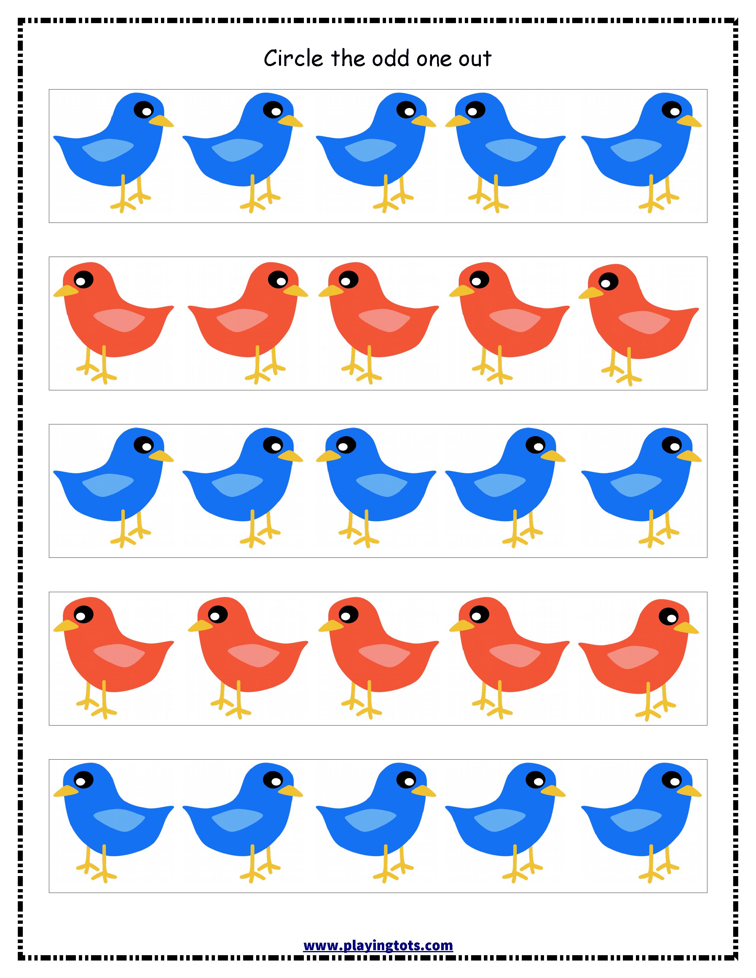 worksheet,animals,odd,one,out,free,printable,kids,toddler ...