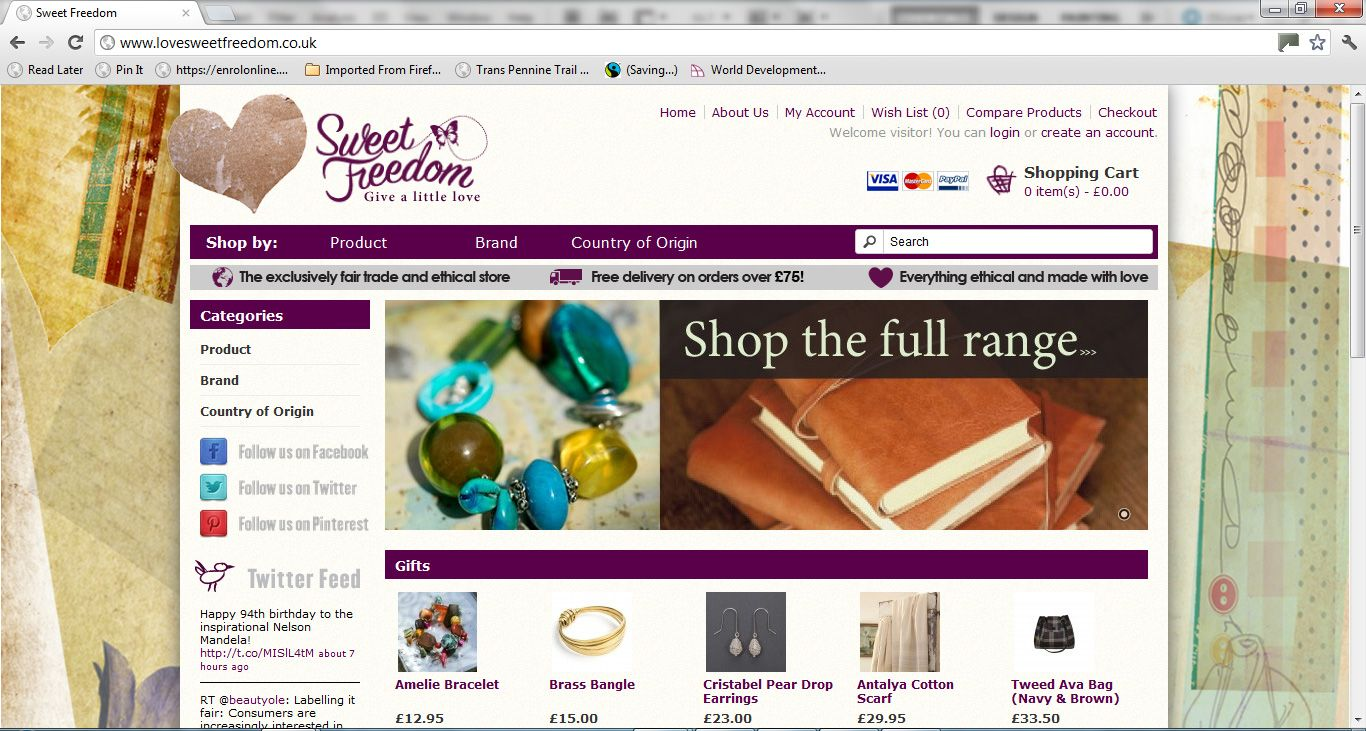 Pssst! Head over to the Sweet Freedom store for all things #ethical and #fairtrade! www.lovesweetfreedom.co.uk With gifts, jewellery, homeware and bags to browse, we can't wait to see you there! :-) www.lovesweetfreedom.co.uk