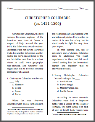 Christopher Columbus Workbook For Grades   Free To Print Pdf  Christopher Columbus Workbook For Grades   Free To Print Pdf File Political Science Essay also Proposal Essay Examples  English Essay Pmr