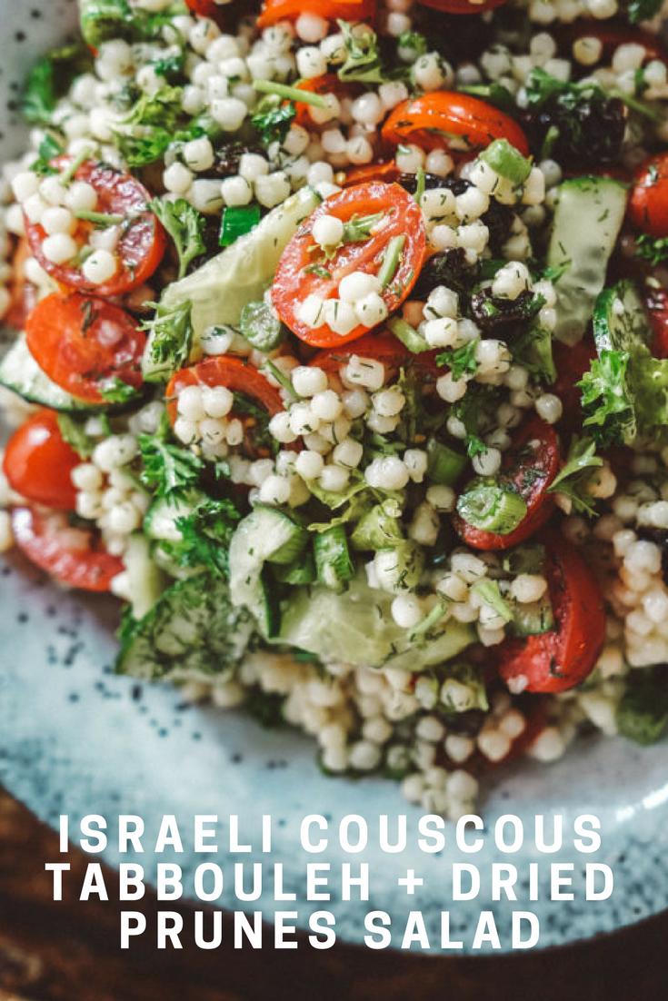 Israeli Couscous Tabbouleh Prune Salad