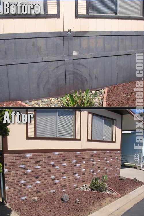 Before And After Picture Of A Mobile Home Foundation Created With Faux Brick Skirting Panels Mobile Home Manufactured Home Remodel Mobile Home Makeovers