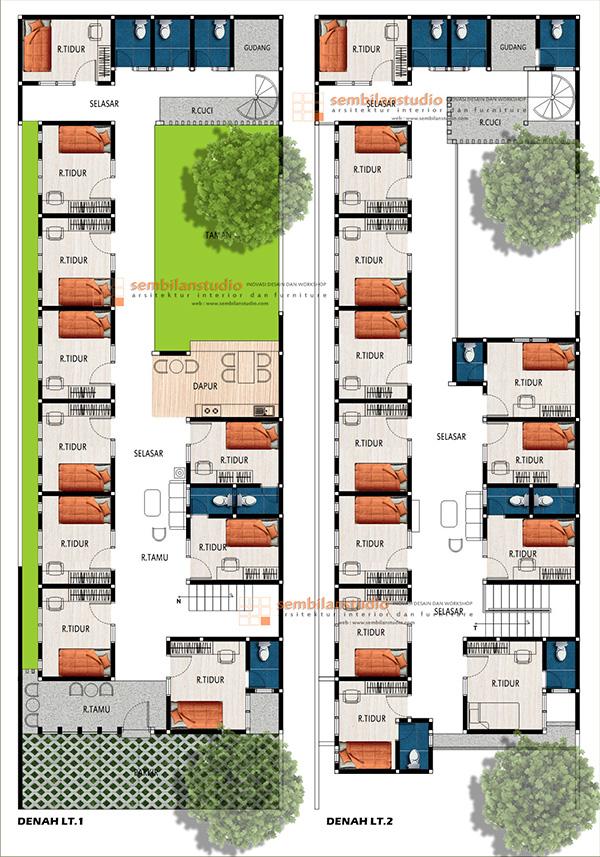 Ars Desain Tropis Rumah Kos Di Lahan Memanjang 10 30 Di Kalimantan Sembilanstudio Arsitektur Hotel Denah Lantai Rumah Hotel Desain