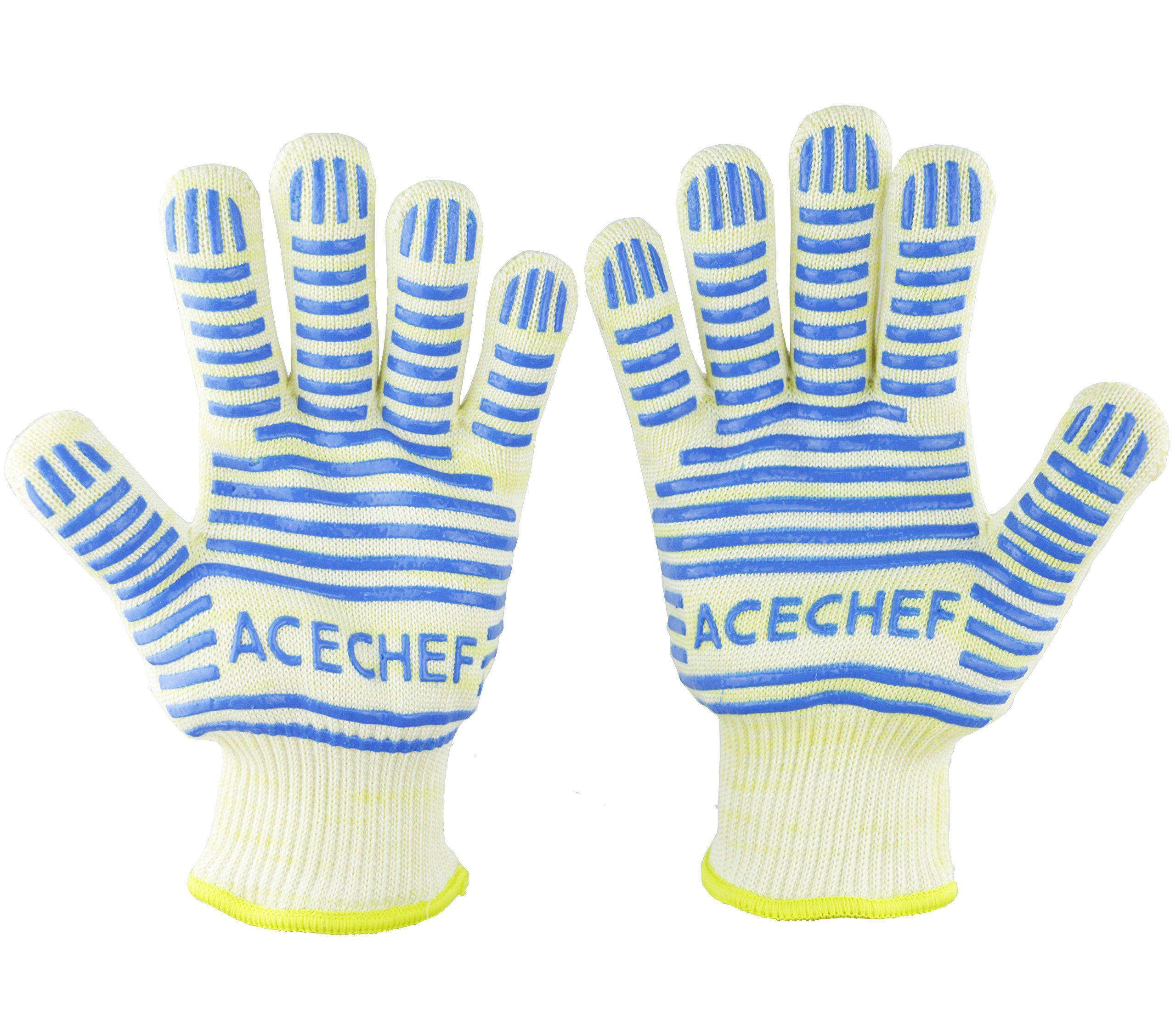 ACECHEF Oven Mitt BBQ Gloves Oven Gloves 5-fingers Flexi Silicone Grip-Heat Resistant up to 662f 2 Gloves