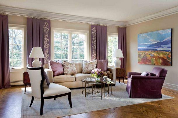 Beige Purple Living Room Chic Modern Classic Eric Schmidt
