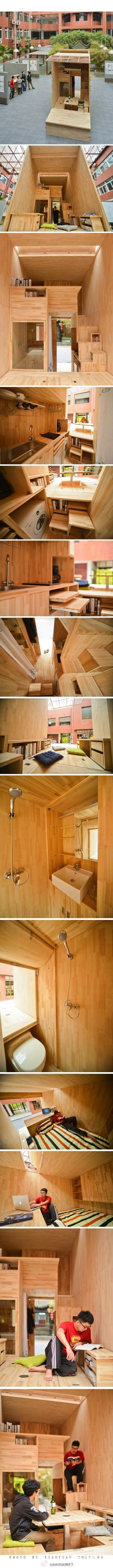 Tiny house - student architect in China constructs his own 75 ft² wooden house complete with kitchen, bathroom, laundry room, and even a patio. - Imgur