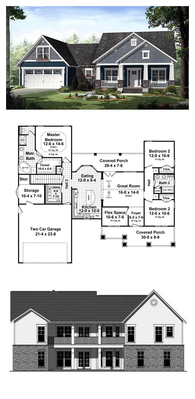 Cottage Country Craftsman House Plan 55603 Exposed