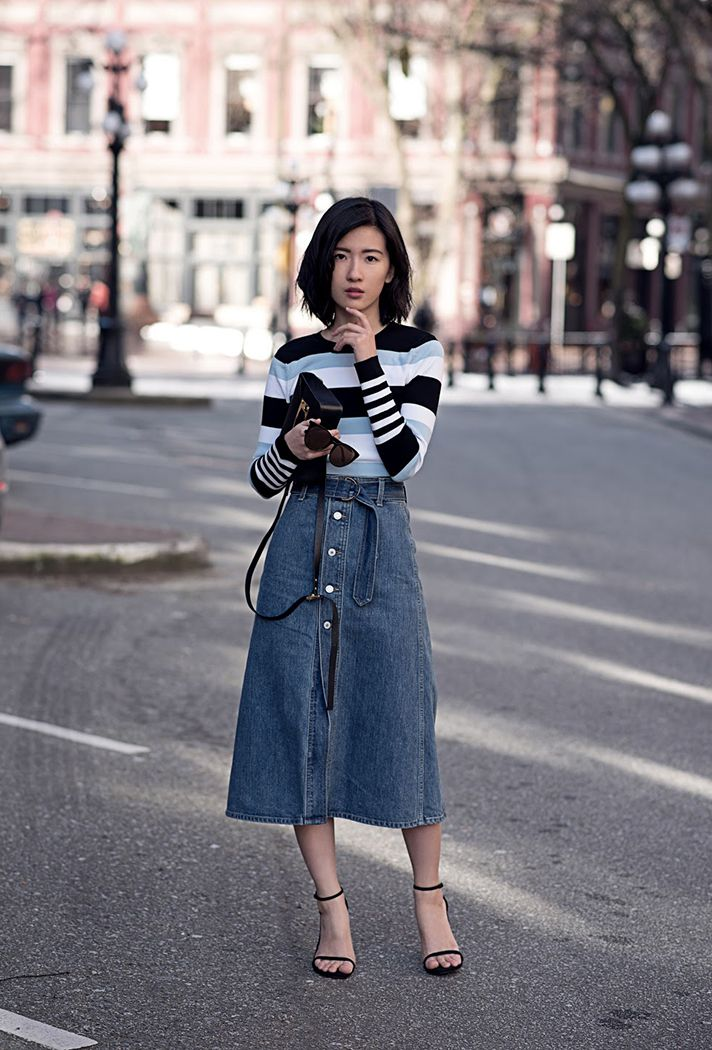How to Wear a Denim Skirt: 13 Outfits to Copy Now | Long ...