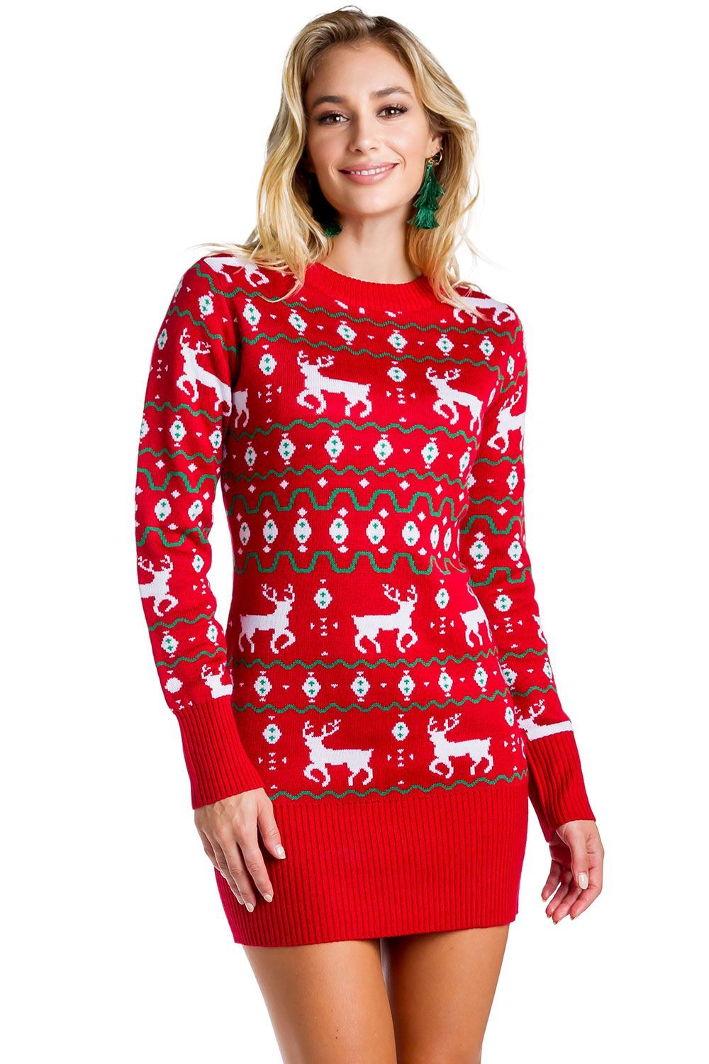 Women's Red Reindeer Sweater Dress in 2020 Christmas