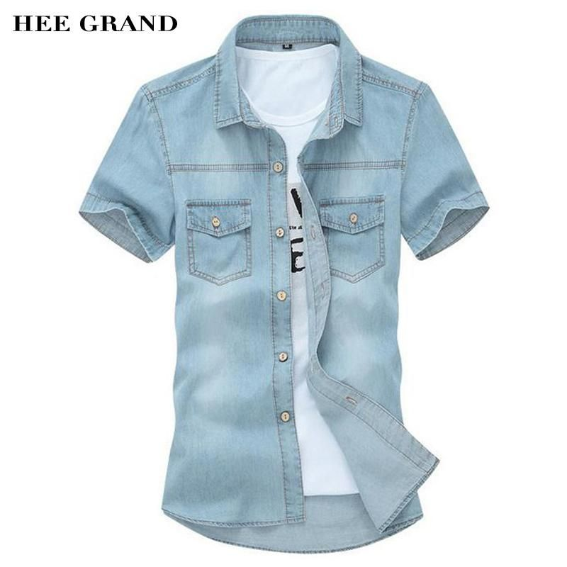 082e819ca7 HEE GRAND Men s Shirts 2018 New Design Casual Washing Slim Short Sleeve Jeans  Shirts High Quality
