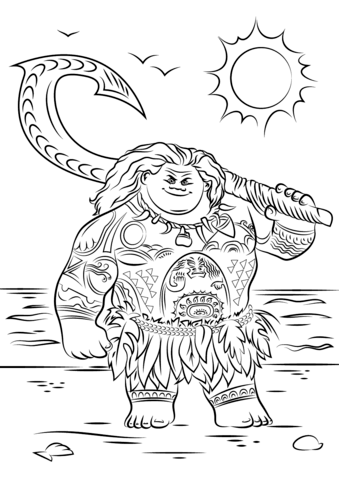 Maui from Moana Coloring page | Inkleurprente | Pinterest | Colorear ...