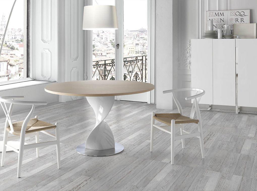 Mesa de comedor en resina y vidrio templado adriana   Ø120 cm ...