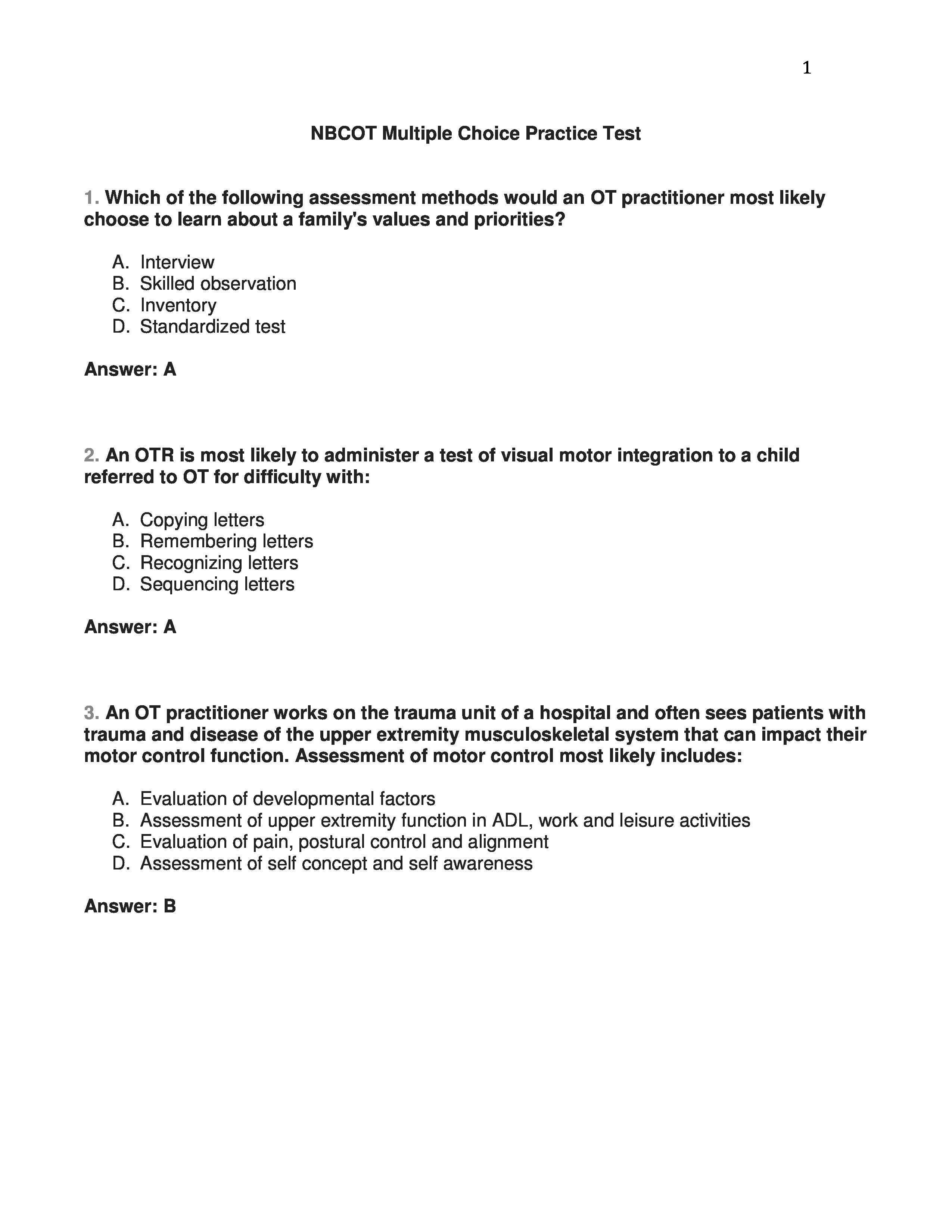Nbcot Multiple Choice Practice Test Page 1 Nbcot Pinterest