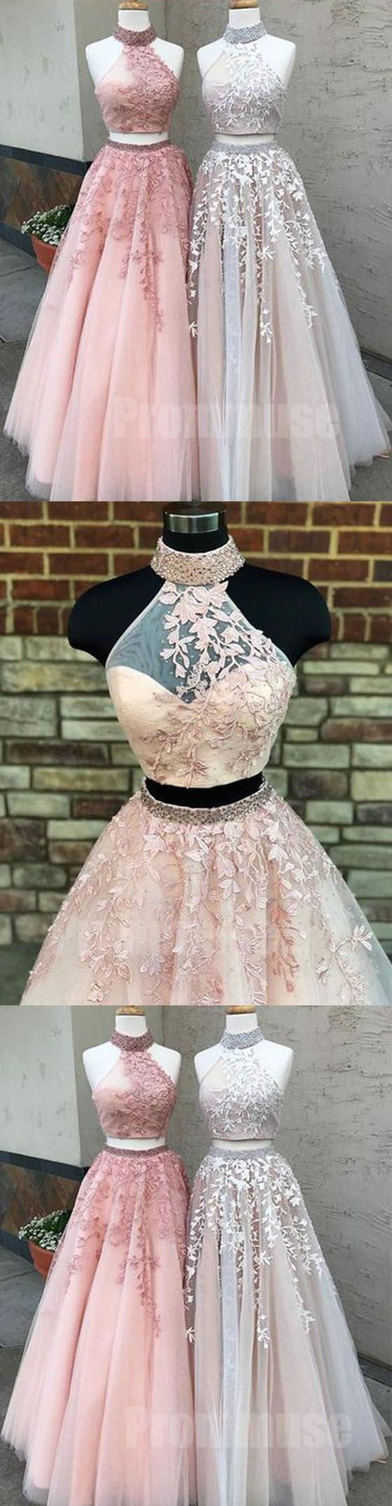 Two pieces halter tulle applique evening long prom dresses pm