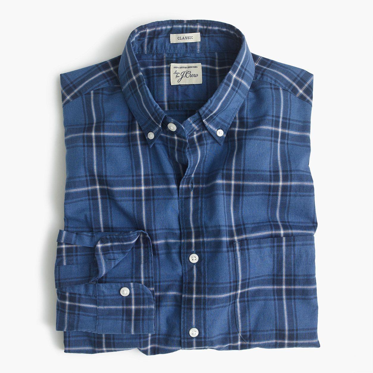 Flannel shirt xs  JCrew Mens Secret Wash Shirt In Navy Plaid Heather Poplin Size XS