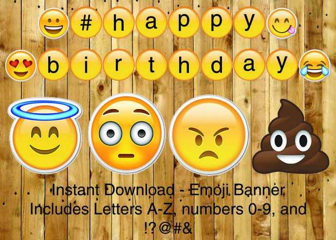 Emoji Customizable Printable Banner