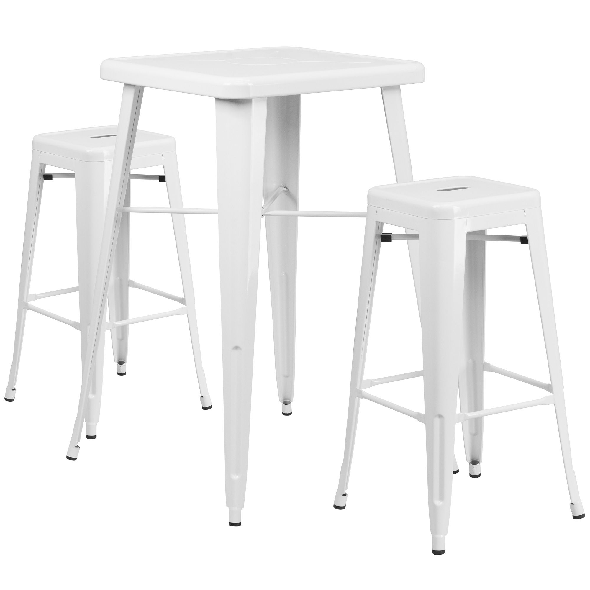 Set Of 3 White Metal Square Bar Stools And Bar Height Table 40 Outdoor Bar Table Bar Table Sets Backless Bar Stools
