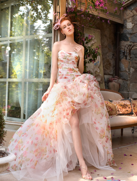 Printed Wedding Dresses With Color Accents