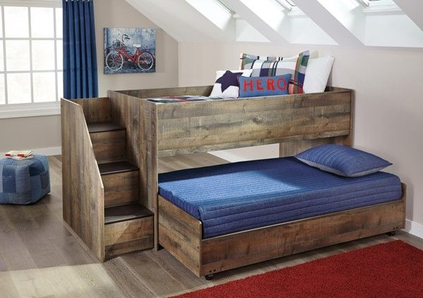 Ashley Furniture Trinell Brown Twin Caster Loft Bed Twin Trundle Bed Low Loft Beds Loft Bunk