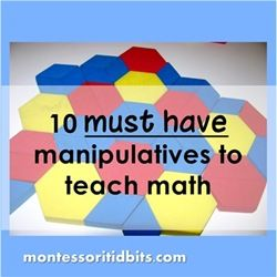 must have hundred board, cards, dice, base 10 blocks, pattern blocks, tanagrams, geo boards, clock w/movable hands, scale & weights, geometric solids
