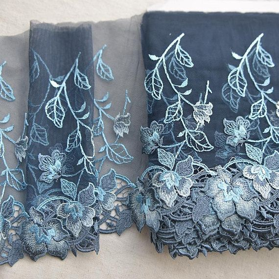 Width 7 87 Inches Navy Blue Lace Trim Flowers Embroidered Lace Floral Lace Trim For Bridal Veil Scal Lace Trim Floral Lace Embroidered Lace