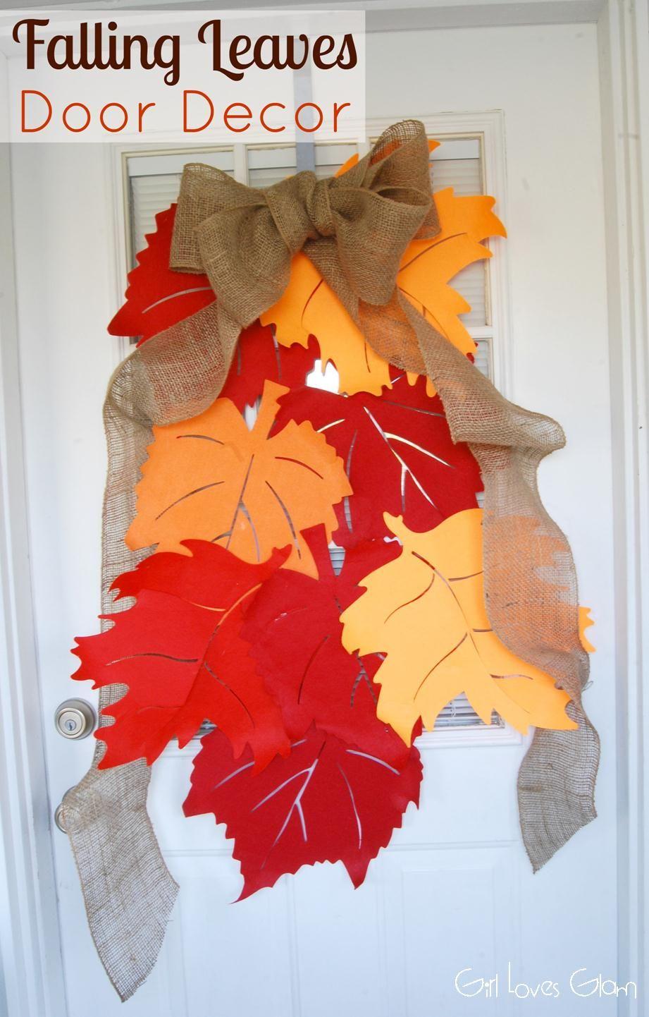 Falling Leaves Door Decor Tutorial Fall Diy Fall Crafts