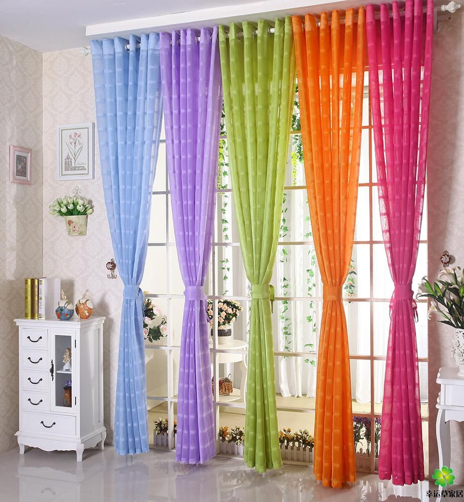 Free Shipping Multicolors Sheer Curtain White Purple Blue Green Orange Incurtains From Home