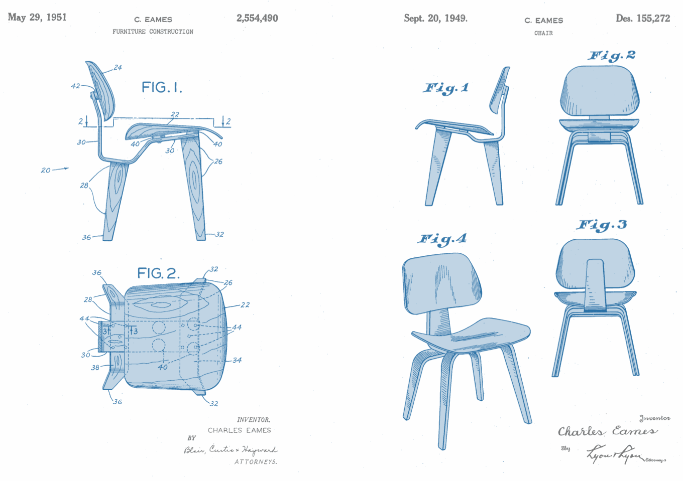 Chair Design Patent Rolling Shower With Padded Seat Eames Utility Left And Right Adler Vermillion Llp