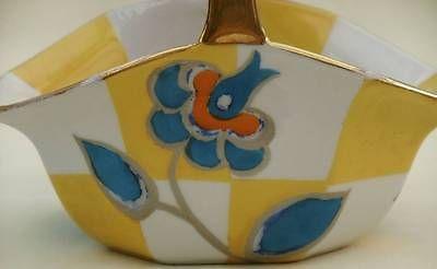 Pretty Vintage Noritake Small BASKET- BLUE ORANGE GREY FLORAL - H/Painted