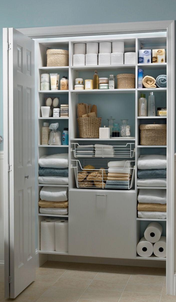 White Mastersuite Creates The Perfect Bathroom Linen Closet In