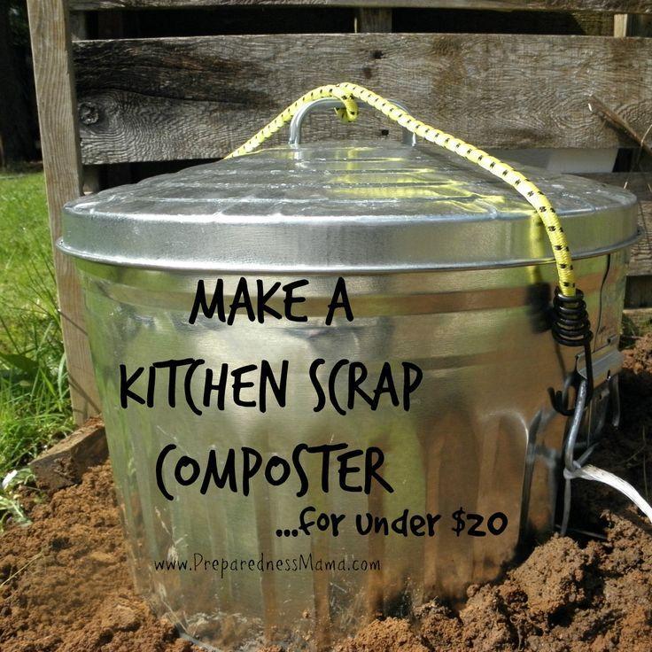 Simple Kitchen Garden: DIY Simple Kitchen Scrap Composter
