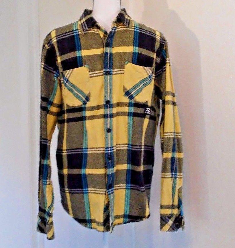 97e03669aa BILLABONG LS Mens Size Large L Yellow Black Blue Plaid Buttonfront Shirt  Surf