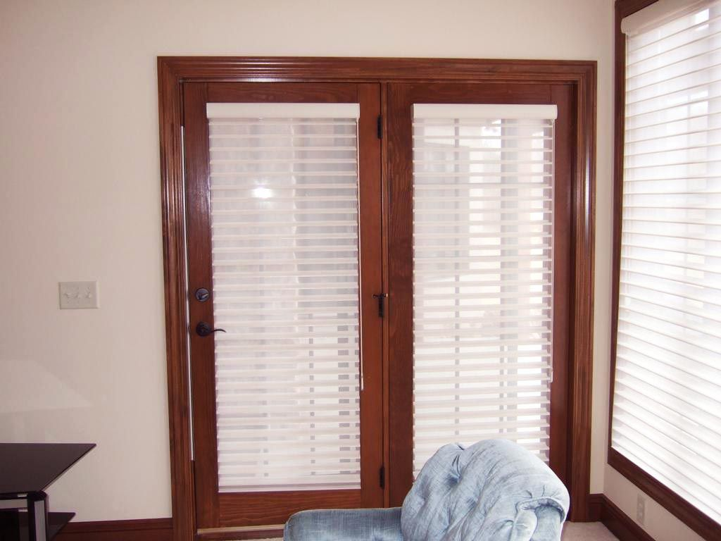 shades with door douglas silhouette combined french blinds l cellular hunter on doors for