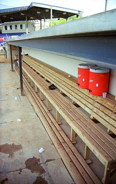 The Bench Empty Baseball Dugout At A Minor League Ballpark In Batavia New York Americana