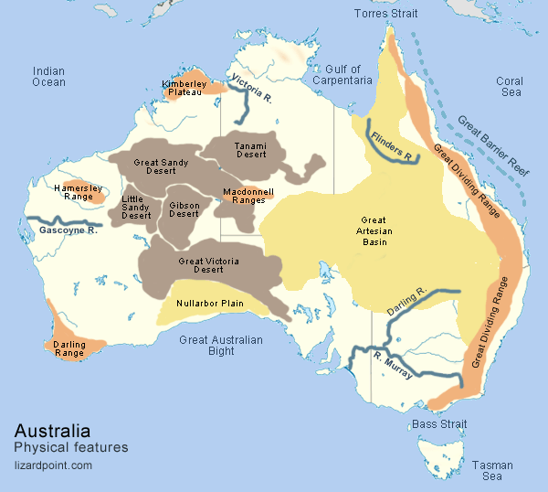 physical maps of australia map of australia with physical