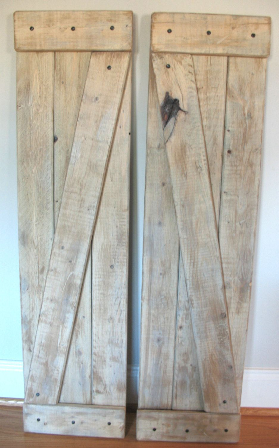 Large farmhouse shutters set of 2 barn door rustic home for Oversized interior barn doors