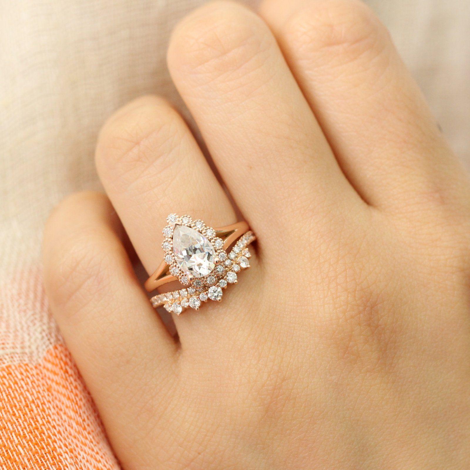 1.66 Carat Bezel Pear Cut Moissanite Antique Engagement Ring Set 14k White Gold