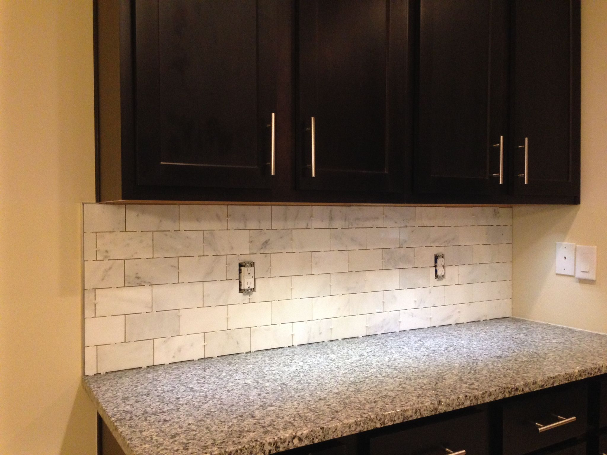 kitchen backsplash edges schluter trim on a mable tile incomplete needs grout 2210