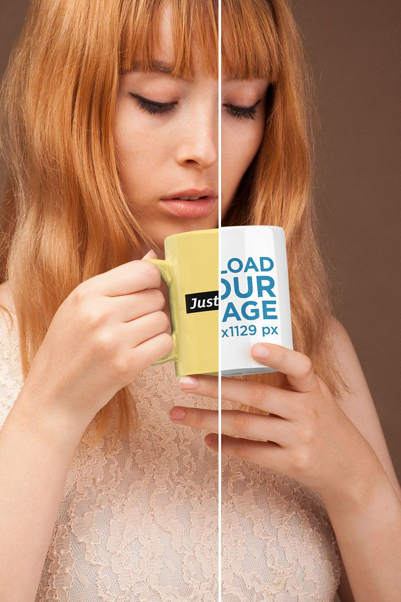 Coffee mug mockup featuring a cute girl with strawberry blonde hair