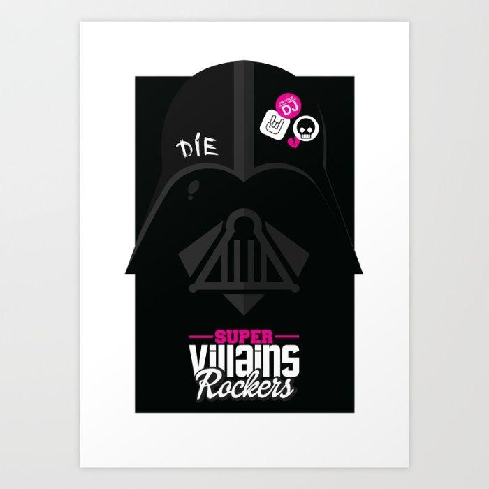 Supervillains Rockers - Darth Vader Art Print by La Fabrique De Posters…