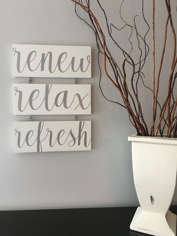 Renew Relax Refresh Spa Sign/Spa Art/Bathroom By KobersCreations