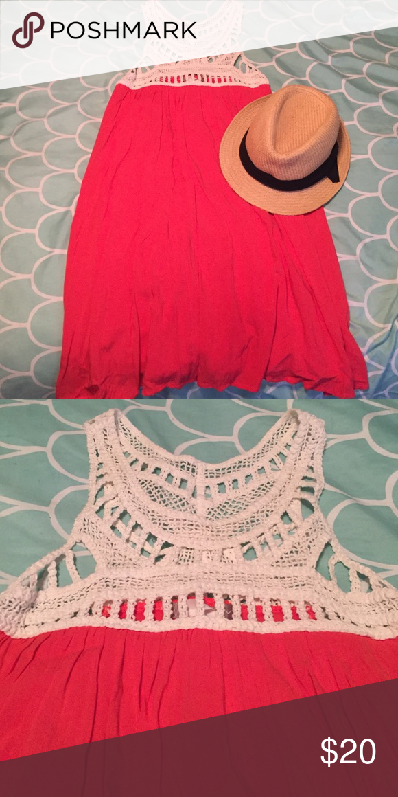 Tent dress Coral A-line dress with crochet detail on top.  Perfect for a day at the beach. Dresses Mini