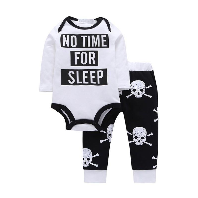 dbfbaafcb371 2 PCS Baby Boy Set White Letter Long Sleeve Top + Skull Black Pants ...