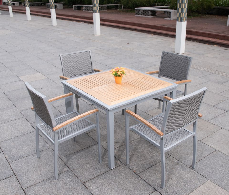 High Quality Aluminum Outdoor Tables Teak Wood Garden Square Table And  Chairs For In Patio Furniture