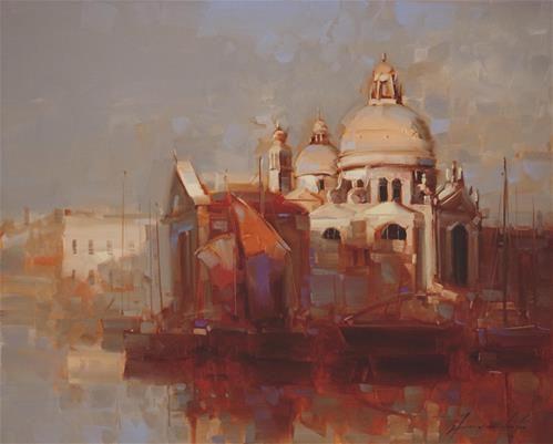 """Daily Paintworks - """"Santa Maria Della Salute in Venice"""" - Original Fine Art for Sale - © V Yeremyan"""