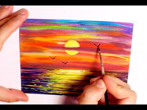 Watercolor Painting Sunset With Palm Trees Speed Painting How To