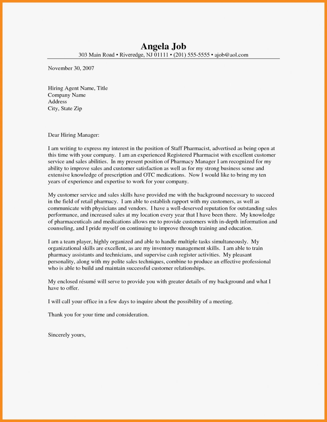 27 pharmacist cover letter writing a cover letter