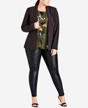 64df80e2ec292 City Chic Trendy Plus Size Lace-Up Blazer - Black 14W