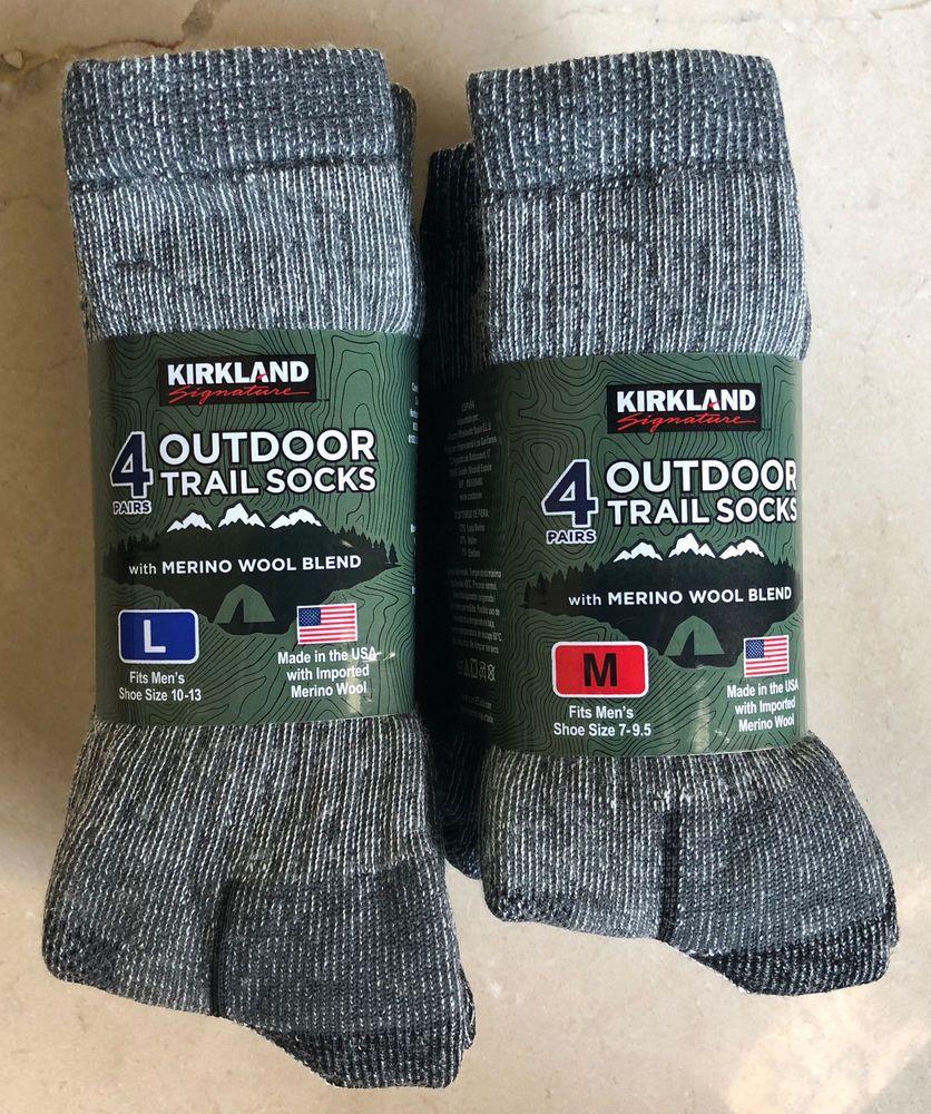 32f25a4e8 4 Pairs KIRKLAND Signature Hiking Trail Men Socks Merino Wool Made in USA M  or L  KirklandSignature  Athletic