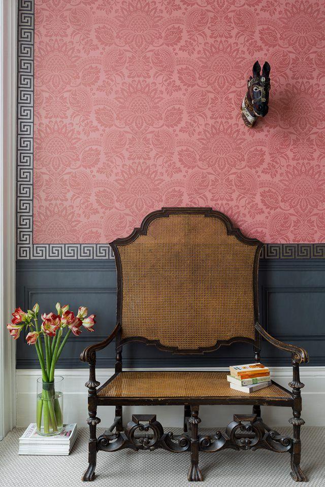 rose damask wallpaper + dark gray greek key border by Cole & Son ...
