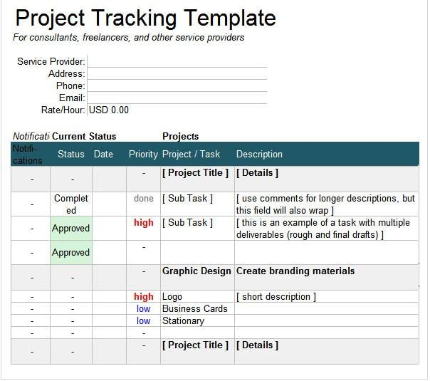 Project Management Multiple Tracking Excel template ExcelTemp
